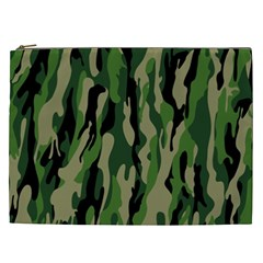Green Military Vector Pattern Texture Cosmetic Bag (XXL)