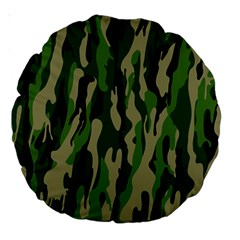 Green Military Vector Pattern Texture Large 18  Premium Round Cushions
