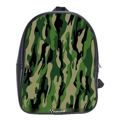 Green Military Vector Pattern Texture School Bags (xl)