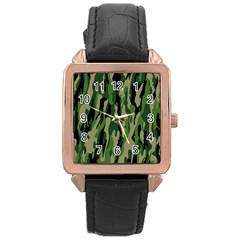 Green Military Vector Pattern Texture Rose Gold Leather Watch