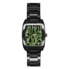 Green Military Vector Pattern Texture Stainless Steel Barrel Watch