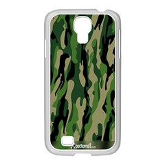 Green Military Vector Pattern Texture Samsung GALAXY S4 I9500/ I9505 Case (White)