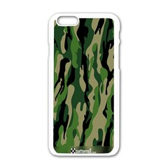 Green Military Vector Pattern Texture Apple Iphone 6/6s White Enamel Case
