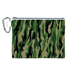 Green Military Vector Pattern Texture Canvas Cosmetic Bag (L)