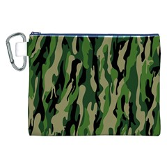 Green Military Vector Pattern Texture Canvas Cosmetic Bag (xxl)
