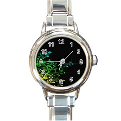 Abstract Colorful Plants Round Italian Charm Watch