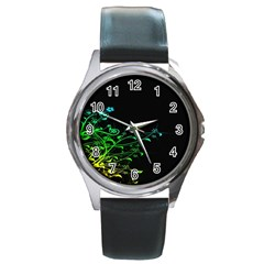 Abstract Colorful Plants Round Metal Watch
