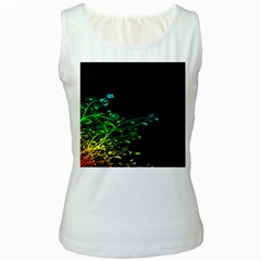 Abstract Colorful Plants Women s White Tank Top