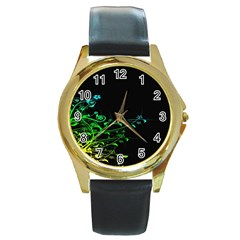 Abstract Colorful Plants Round Gold Metal Watch