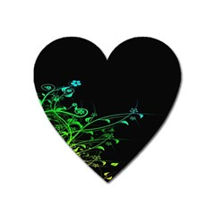 Abstract Colorful Plants Heart Magnet