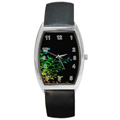 Abstract Colorful Plants Barrel Style Metal Watch