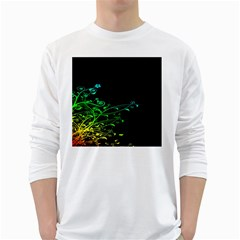 Abstract Colorful Plants White Long Sleeve T-Shirts