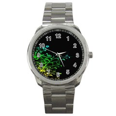 Abstract Colorful Plants Sport Metal Watch