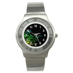Abstract Colorful Plants Stainless Steel Watch