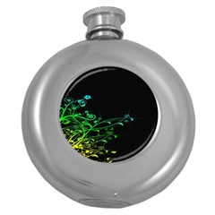 Abstract Colorful Plants Round Hip Flask (5 Oz)