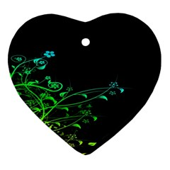 Abstract Colorful Plants Heart Ornament (Two Sides)