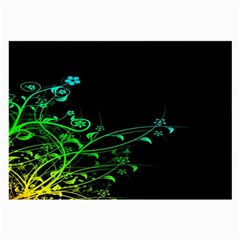 Abstract Colorful Plants Large Glasses Cloth
