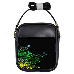 Abstract Colorful Plants Girls Sling Bags