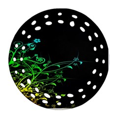 Abstract Colorful Plants Round Filigree Ornament (Two Sides)