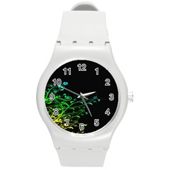 Abstract Colorful Plants Round Plastic Sport Watch (m)