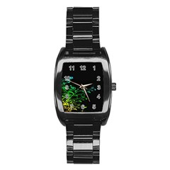 Abstract Colorful Plants Stainless Steel Barrel Watch