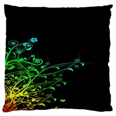 Abstract Colorful Plants Large Flano Cushion Case (one Side)