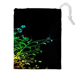 Abstract Colorful Plants Drawstring Pouches (xxl)