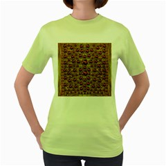 Angels In Gold And Flowers Of Paradise Rocks Women s Green T-Shirt