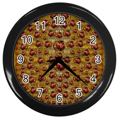 Angels In Gold And Flowers Of Paradise Rocks Wall Clocks (Black)
