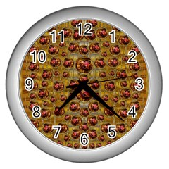 Angels In Gold And Flowers Of Paradise Rocks Wall Clocks (silver)