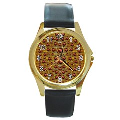 Angels In Gold And Flowers Of Paradise Rocks Round Gold Metal Watch