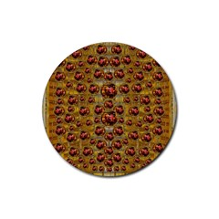 Angels In Gold And Flowers Of Paradise Rocks Rubber Coaster (round)
