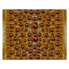 Angels In Gold And Flowers Of Paradise Rocks Rectangular Jigsaw Puzzl