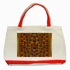 Angels In Gold And Flowers Of Paradise Rocks Classic Tote Bag (Red)