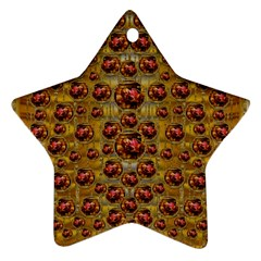 Angels In Gold And Flowers Of Paradise Rocks Star Ornament (Two Sides)