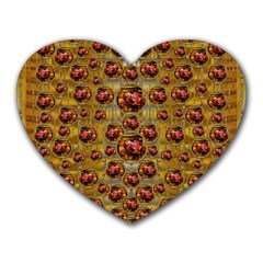 Angels In Gold And Flowers Of Paradise Rocks Heart Mousepads