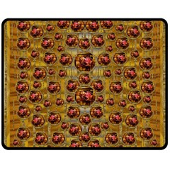 Angels In Gold And Flowers Of Paradise Rocks Fleece Blanket (medium)