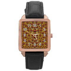 Angels In Gold And Flowers Of Paradise Rocks Rose Gold Leather Watch