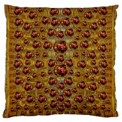 Angels In Gold And Flowers Of Paradise Rocks Large Flano Cushion Case (Two Sides)