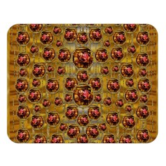Angels In Gold And Flowers Of Paradise Rocks Double Sided Flano Blanket (large)