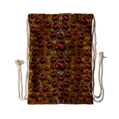 Angels In Gold And Flowers Of Paradise Rocks Drawstring Bag (Small)