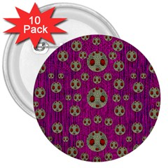 Ladybug In The Forest Of Fantasy 3  Buttons (10 Pack)