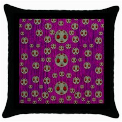 Ladybug In The Forest Of Fantasy Throw Pillow Case (Black)