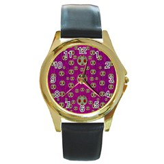 Ladybug In The Forest Of Fantasy Round Gold Metal Watch