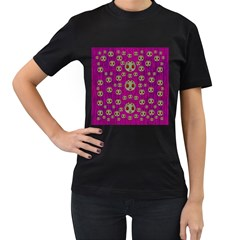 Ladybug In The Forest Of Fantasy Women s T-Shirt (Black) (Two Sided)