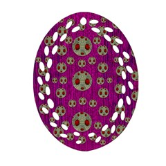Ladybug In The Forest Of Fantasy Oval Filigree Ornament (Two Sides)