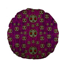 Ladybug In The Forest Of Fantasy Standard 15  Premium Round Cushions