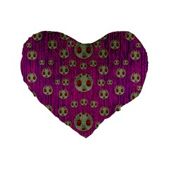 Ladybug In The Forest Of Fantasy Standard 16  Premium Heart Shape Cushions