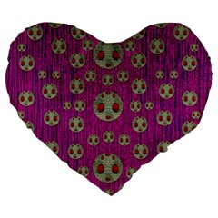 Ladybug In The Forest Of Fantasy Large 19  Premium Heart Shape Cushions