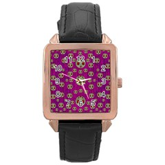 Ladybug In The Forest Of Fantasy Rose Gold Leather Watch